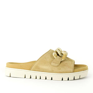 Gabor Tan Suede Slide with Chain Detail