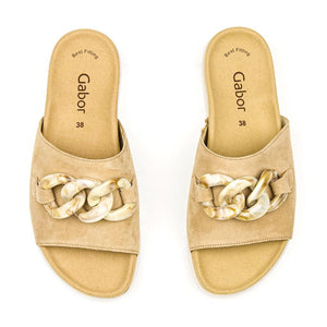 Gabor Tan Suede Slide with Chain Detail  Edit alt text