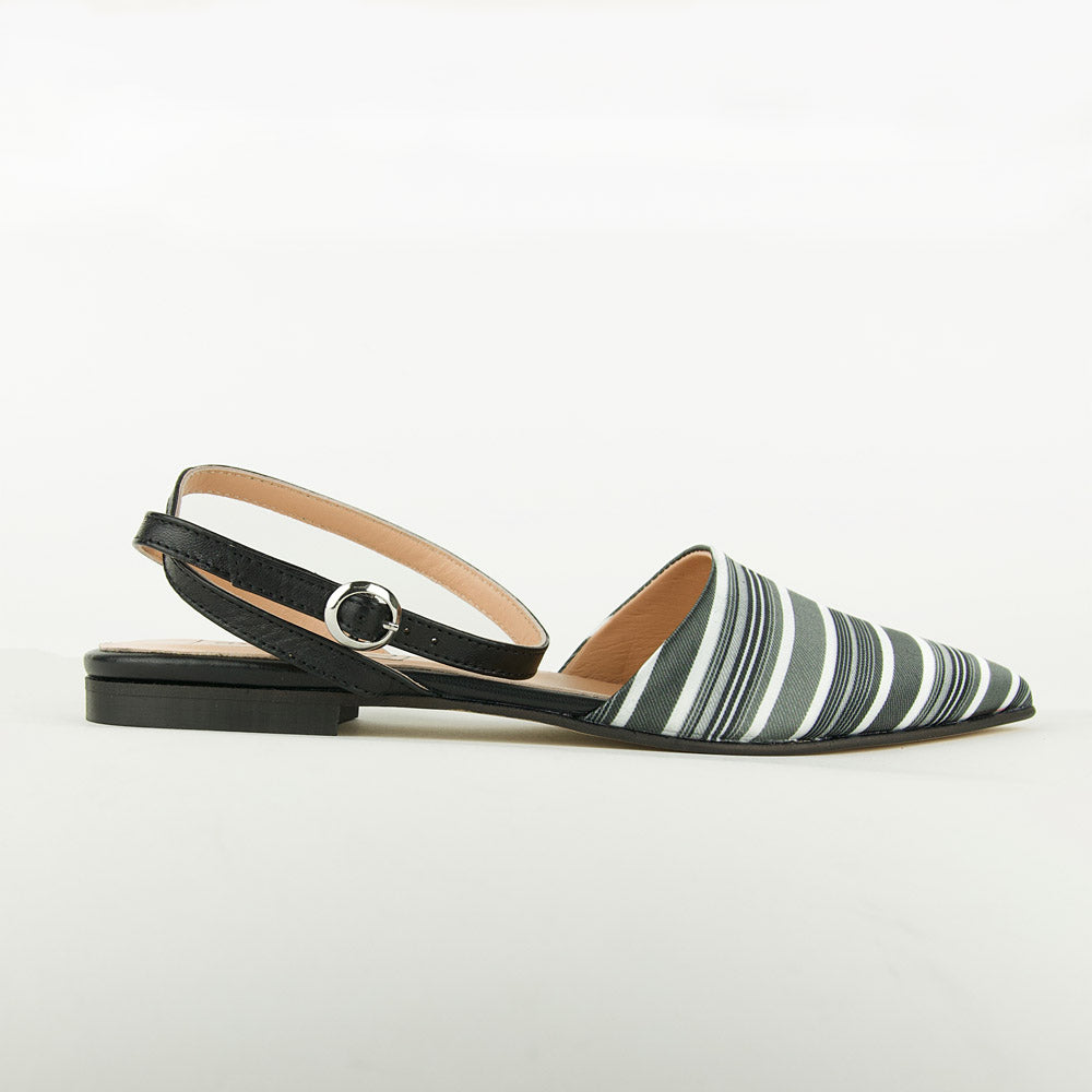 re-souL gigi flat in black and white tie silk