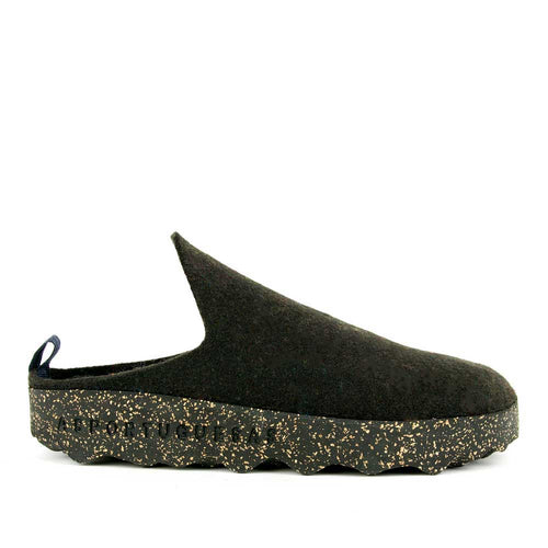Asportuguesas black wool come slide.