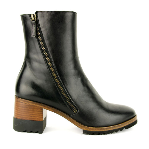 Homers Polar Black Leather Zip Boot for Women