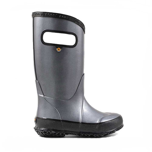Bogs metallic plush silver rainboot for kids.