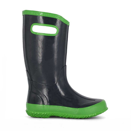 Kids Bogs solid navy with green detail rainboot.