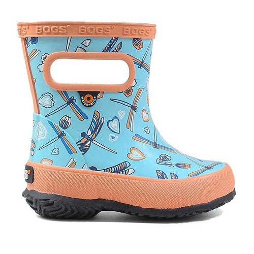 Kids Bogs skipper boot with dragonflies.