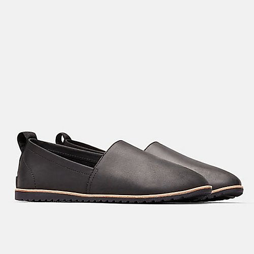sorel ella slip-on flat in black leahter