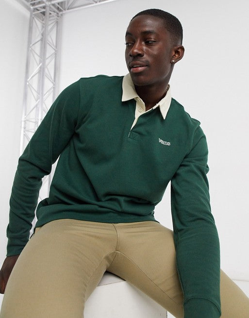 Vans Sixty Sixers rugby polo top in green