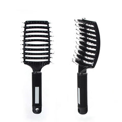 Bristle Big Curved Comb Hair Dressing Salon Only Comb Silicone Handle Easy Grip Comb - vendilos