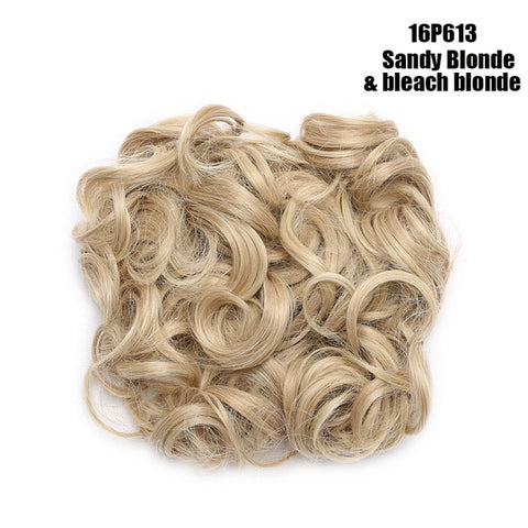 Hair Bun Clip in Hair Extension 2 Plastic Comb Curly Hair