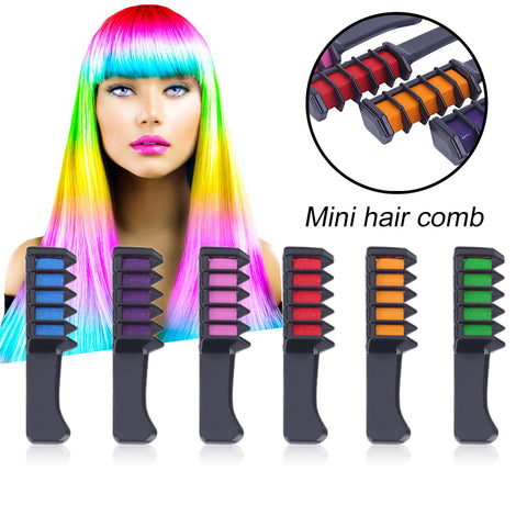 Fashion 6 Colors Personal Salon Use Mini Hair Dye Comb Disposable Crayons Chalk