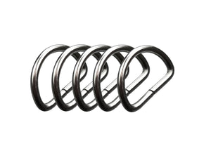 D-rings in nickel-plated steel, half-round, half-rings