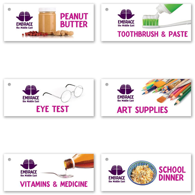 Alternative Gift selection pack - 6 gift tags per pack featuring the following items: peanut butter, toothbrush & paste, eye test, art supplies, vitamins & medicine and school dinner