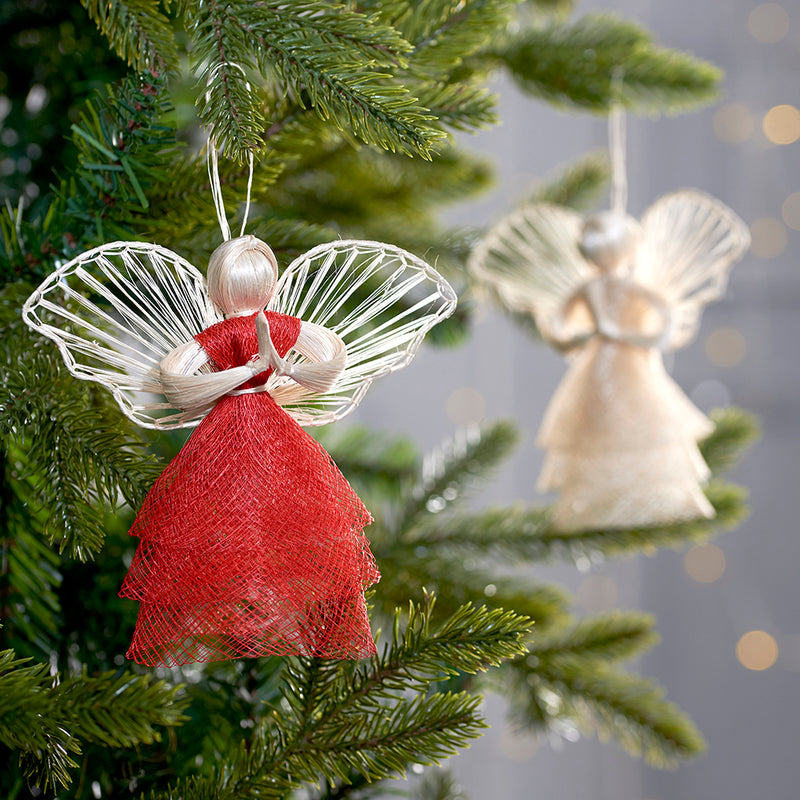 Red Angel decoration on Christmas tree with Honey Gold Angel (also available from Embrace)