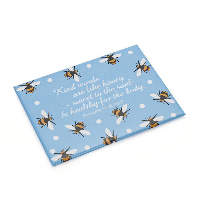 Bee Print Rectangular Magnet with Bible Verse, Proverbs 16:24