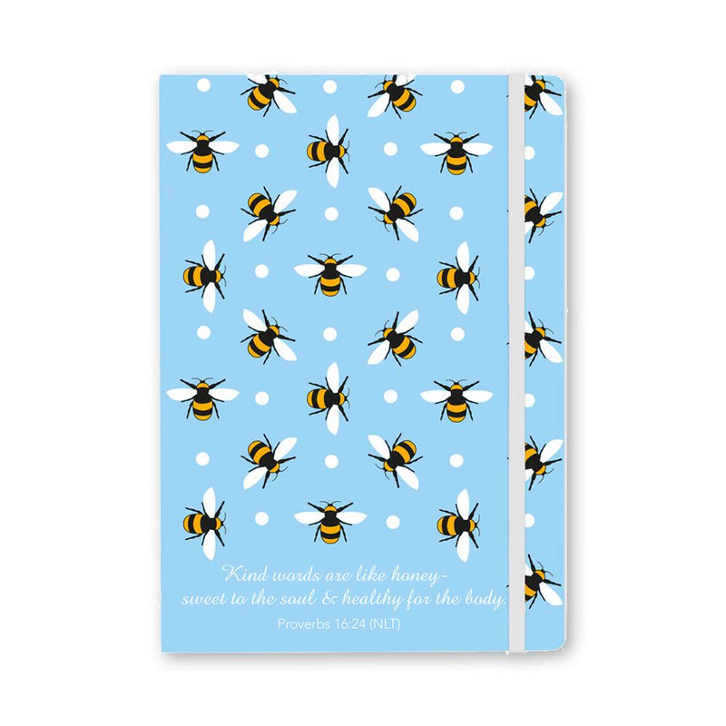Bee print notebook, exclusive Embrace design, with inspirational quote from Proverbs 16:24 and elastic closure