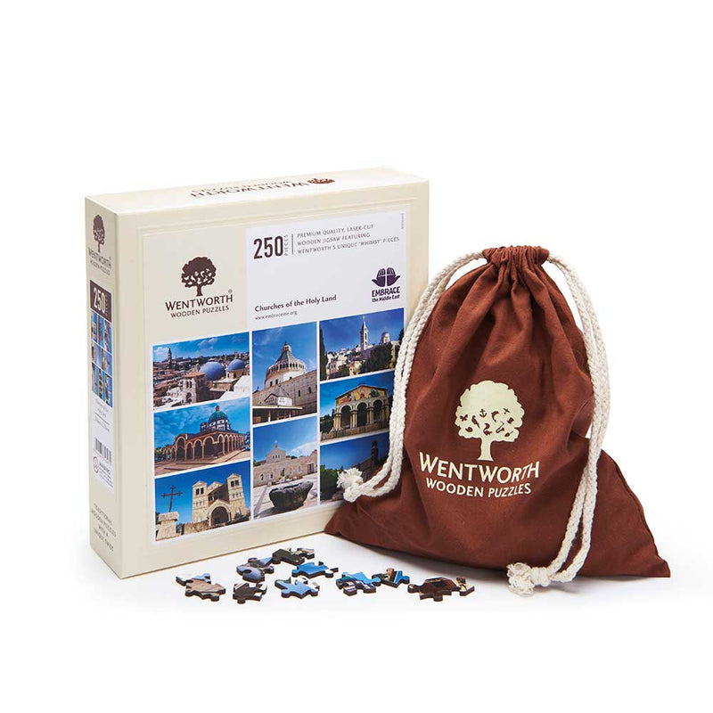 Churches of the Holy Land quality wooden Jigsaw with box and fabric storage bag