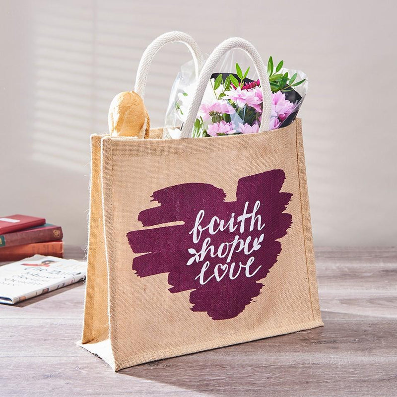 Faith Hope Love Jute Bag filled with groceries