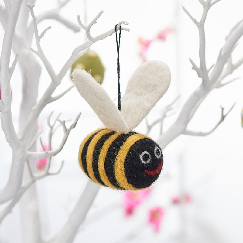 Handmade Felt Bee Decoration displayed on Easter Tree