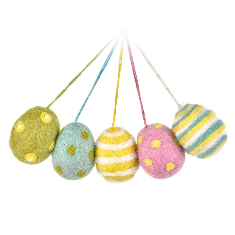Handmade Felt Easter Egg Decorations - pack of 5