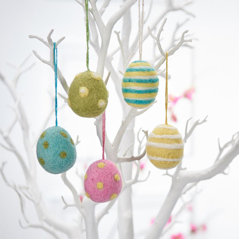 Handmade Felt Easter Egg Decorations - pack of 5 - displayed on Easter Tree