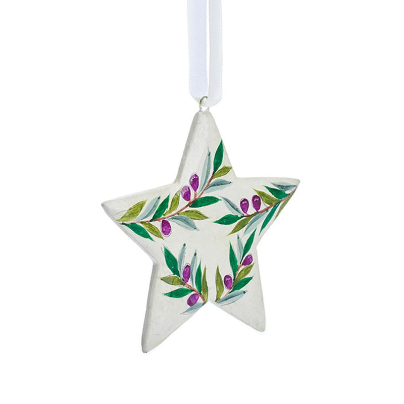 Fairtrade Hand painted Olive Print Star decoration