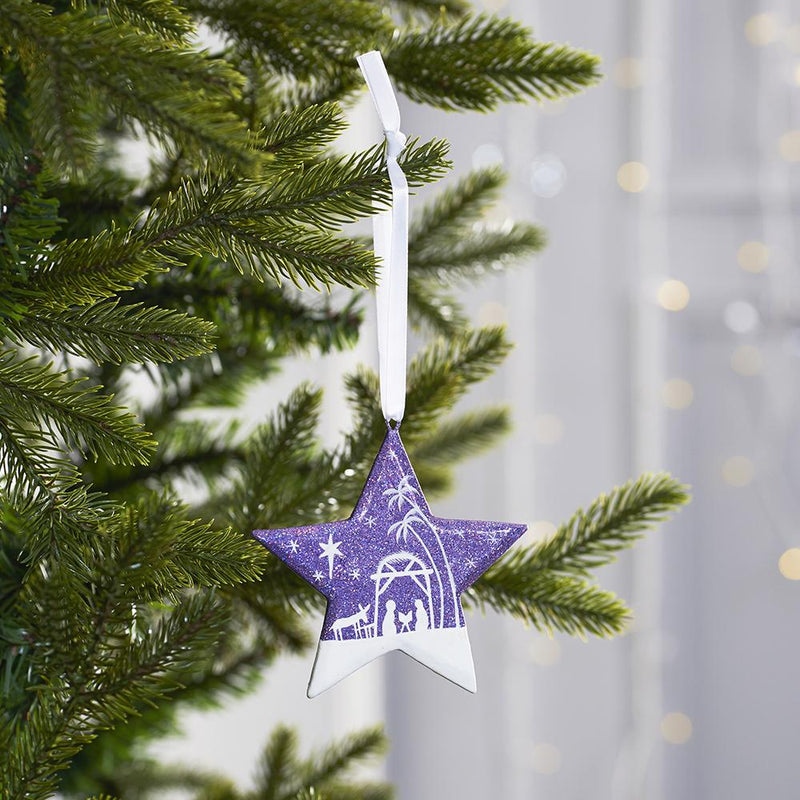 Nativity Star: Purple Glitter on Christmas tree