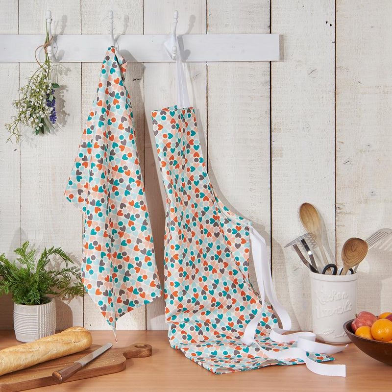 Heart Print Tea Towel and Apron shown in kitchen