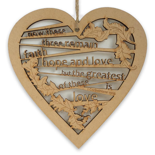 Hanging Heart Decoration - 1 Cor 13:13