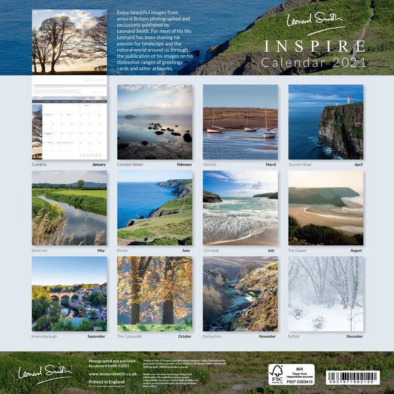 Inspire Calendar 2021 - back cover, showing thumbnails of all featured images