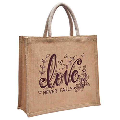 Love Never Fails Jute Bag