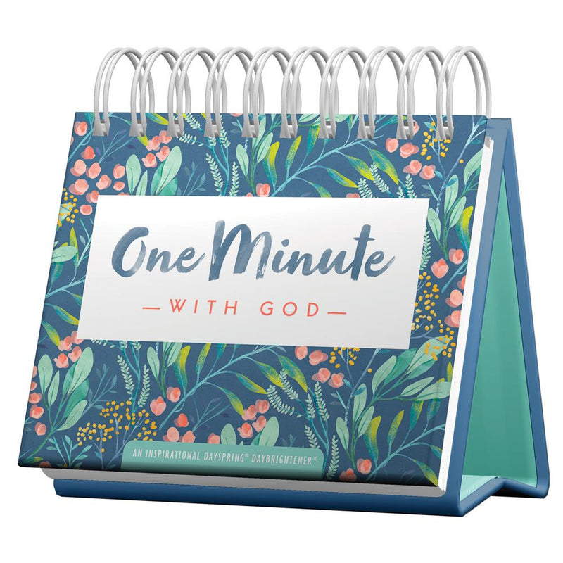 One Minute with God Day Brightener - perpetual desk calendar with spiral binding and floral design