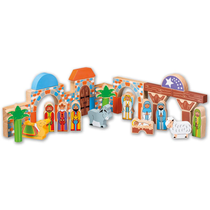 Painted Wooden Nativity Building Blocks - children's toy
