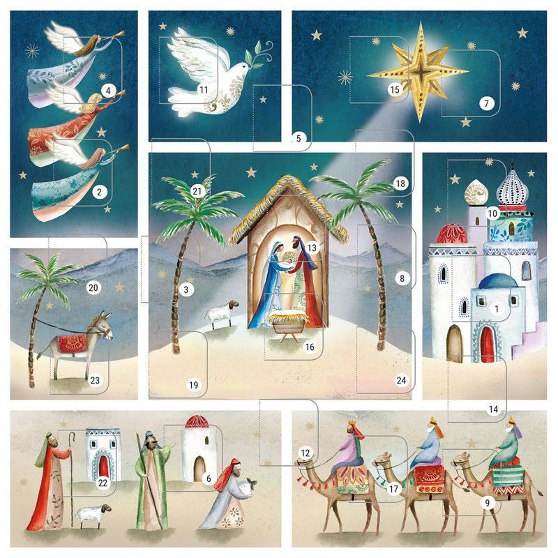 Nativity Scene square Advent wall calendar
