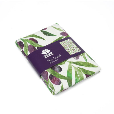 Olive Print Tea Towel