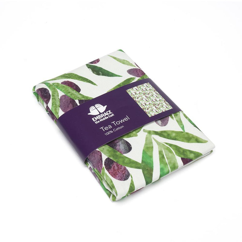 Olive Print Tea Towel - with Embrace branded card packaging