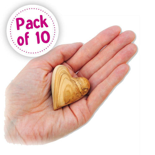 Olive Wood Heart: Pack of 10