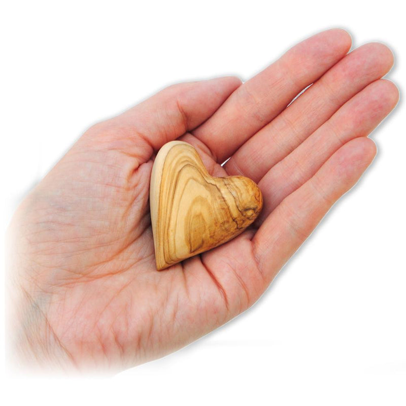 Olive Wood Heart in palm of hand