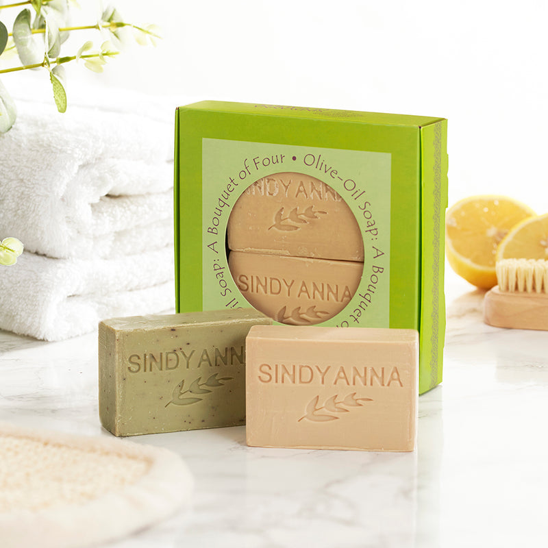 Olive Oil Soap Gift Pack shown in bathroom context