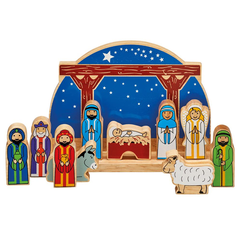 Painted Wooden Starry Night Nativity Set - children's toy