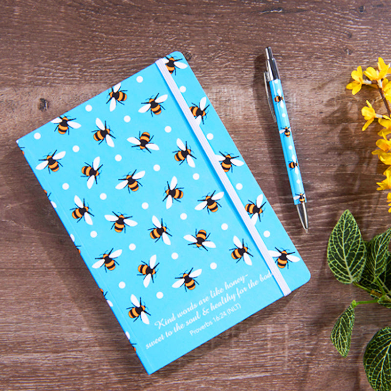 Bee print notebook with bee print pen