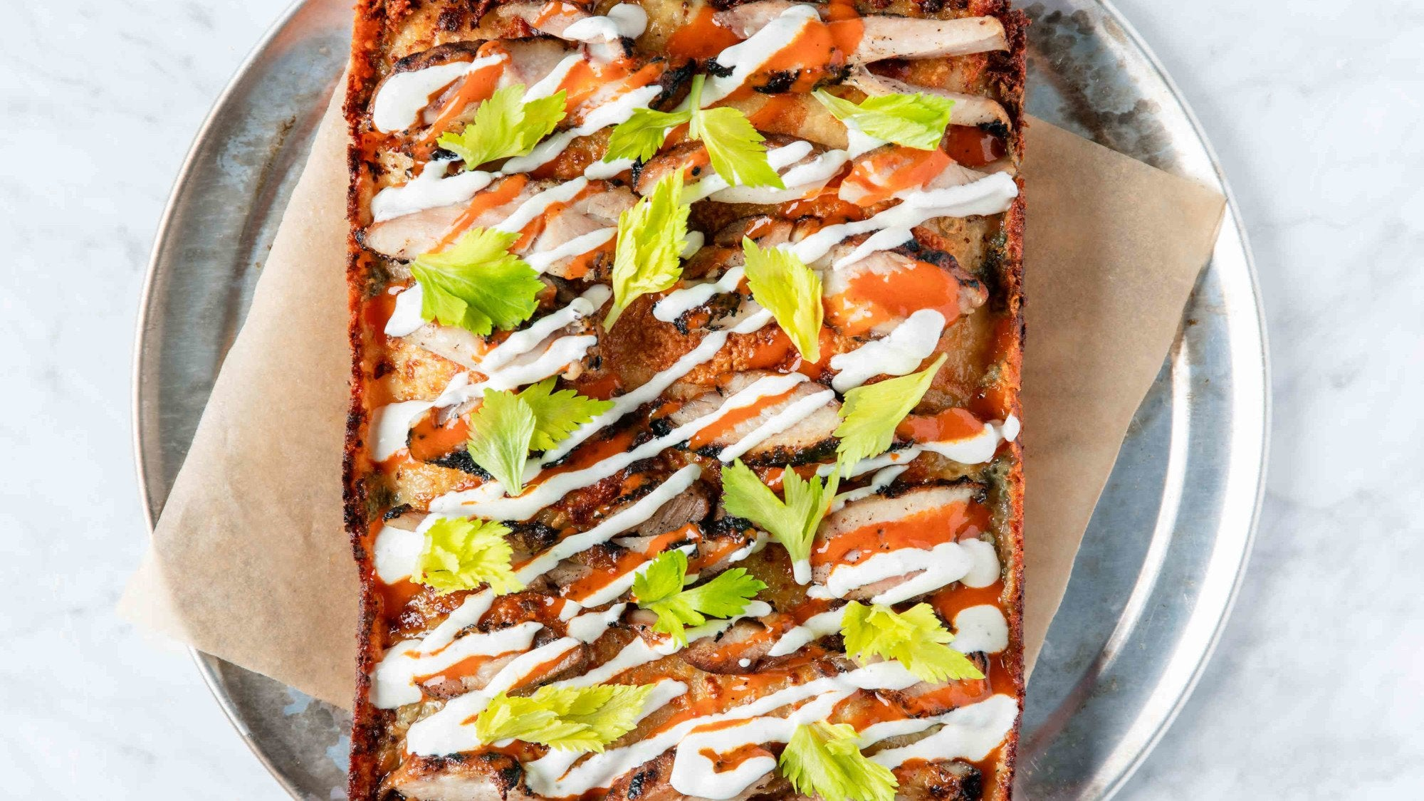 Buffalo Chicken Detroit Style Pizza