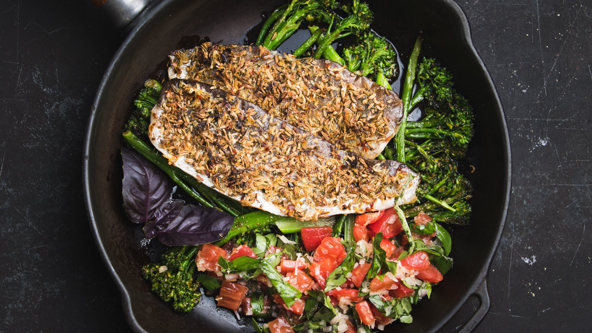 Spiced Trout with Roasted Broccoli and Tomato Dressing