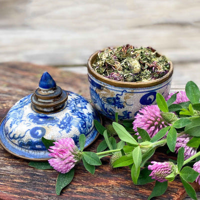 Red clover tea in a blue and white china bowl with a matching lid and fresh-picked clover on a dark wood cutting board on a lighter surface.