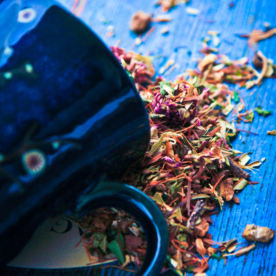 Im-life tincture herbs spill out of a dark blue mug and onto a blue painted wood surface.