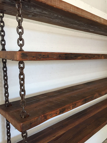 Reclaimed Wood Shelf ~ Hanging chain shelving with year old reclaimed wood