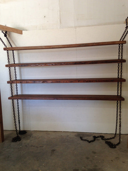Chain Shelf - Hanging Chain Shelving With 100 Year Old Reclaimed Wood