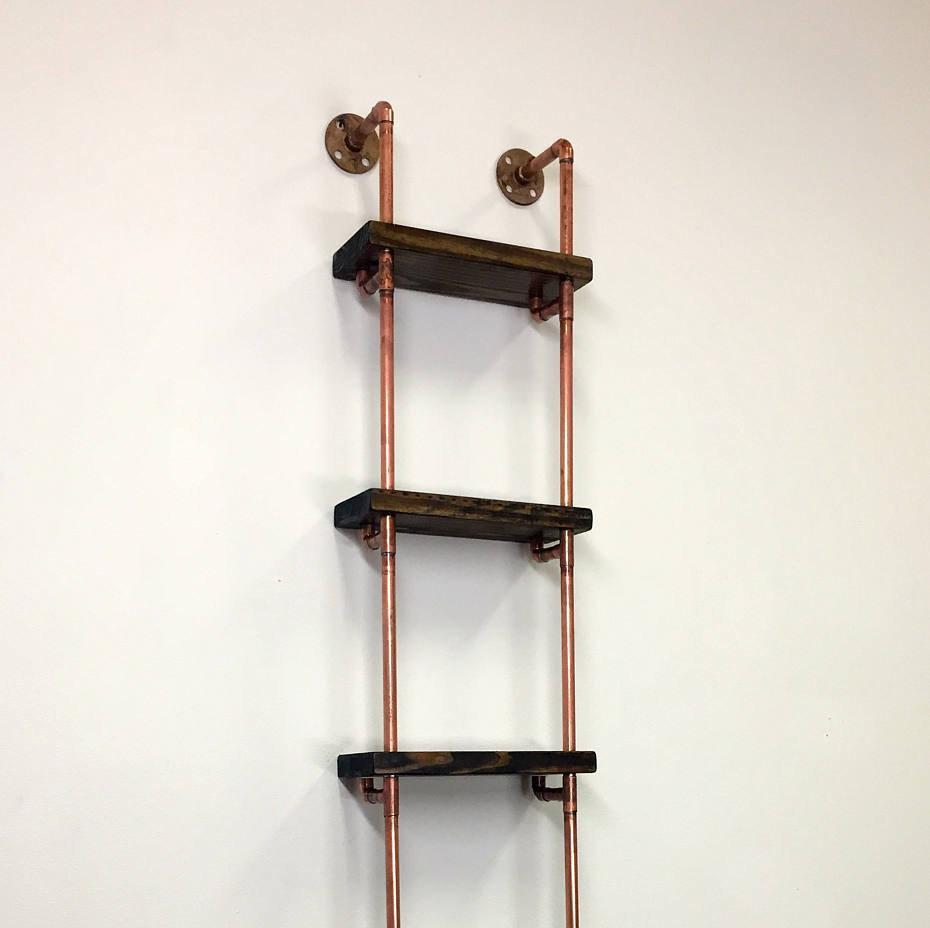 industrial wall shelves solid copper pipe shelving