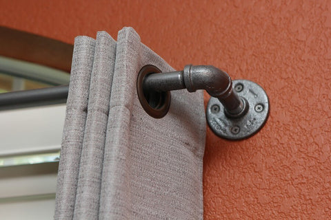 "Curtain Rod - Long Industrial Chic Curtain Rod (97""-166"")"