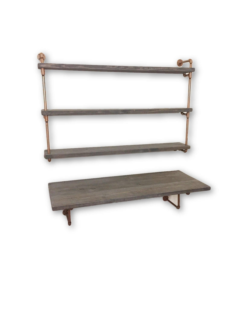Industrial desk with industrial floating shelves