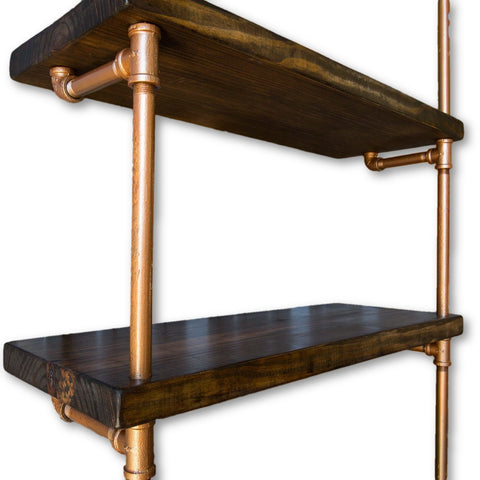 Handmade Industrial Bookshelf - Pipe Shelf