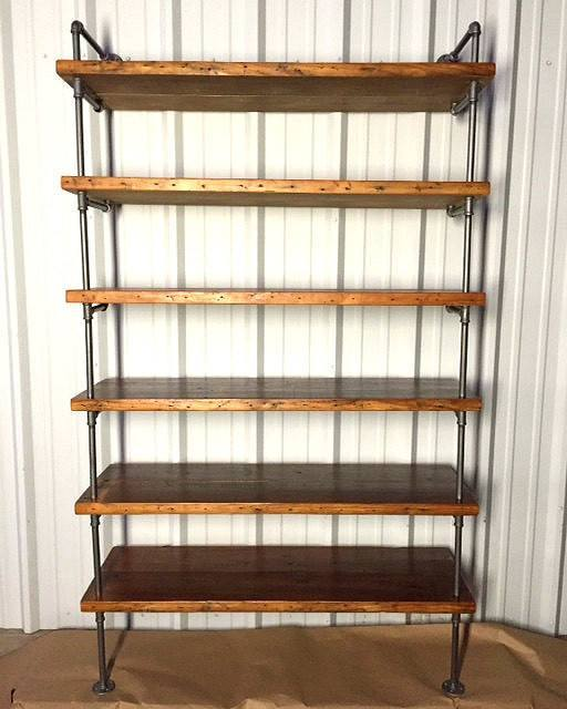 Shelving   Industrial Pipe Shelving With Antique Reclaimed Wood ...